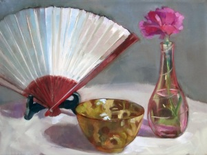 Japanese Bowl, Carnation and Fan
