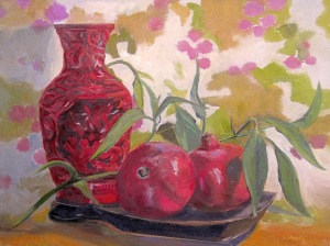 Still Life with Cinnabar Vase and Pomegranates