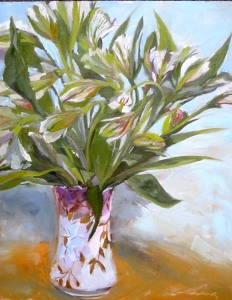 Peruvian Lilies - Antique Vase